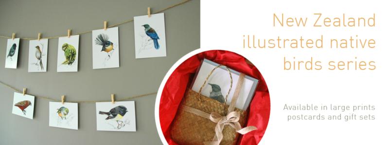 birds , New Zealand , prints , watercolor , painting, native birds , wild life , handmade , gift , christmas , ink , illustration , emilie geant , art , artist