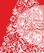 Xmas-tree-pattern-white-on-red-detail