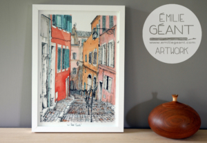 print, artprint, giclee, watercolor, ink, illustration, The Soul of French Buildings, exhibition, ink, facade, building, architecture, dippen, urban, landscape, stones, Emilie Geant