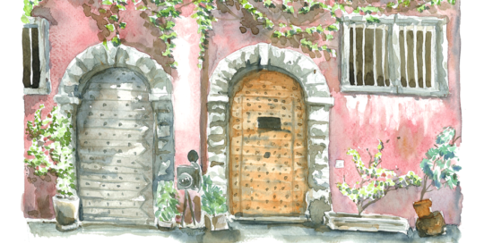 Lyon, doors, Annecy, watercolor, sketching, old town, France, French, building, street, stone, city, historic, Emilie Geant